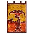 Batik Cotton 'Fish Merchant' Wall Hanging (Ghana)