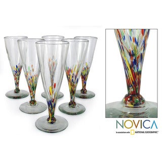 Set of 6 Hand-blown 'Multicolor Specks' Beer Glasses (Mexico)