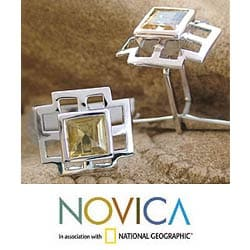 Citrine and Silver 'Sun Tower' Cuff Links (India)