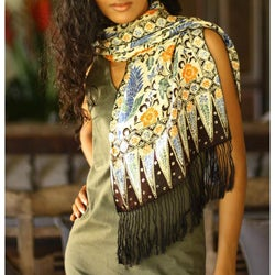 Silk 'Brown Paradise' Batik Scarf (Indonesia)