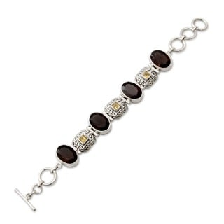 Imperial Occasion or Everyday Adjustable 925 Sterling Silver Brown Smoky Quartz and Citrine Gemstone Womens Bracelet (India)