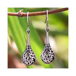 Sterling Silver 'Forest Fern' Teardrop Disk Dangle Earrings (Thailand)