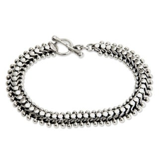 Centipede Like Unique Intricate Design Handmade 925 Sterling Silver with Toggle Closure Fluid Womens Bracelet (Indonesia)