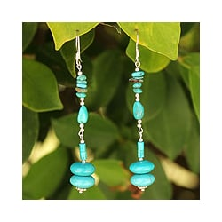 Turquoise 'Peaceful World' Drop Earrings (Thailand)