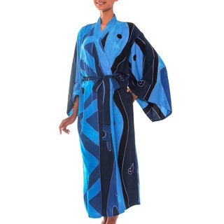 Women's Batik 'Tropical Sea' Robe (Indonesia)