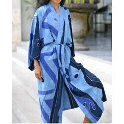 Women's Batik 'Tropical Sea' Robe (Indonesia)