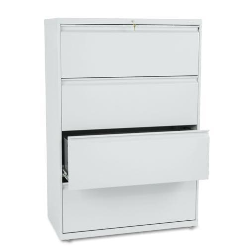 HON 800 Series 36-inch Wide 4-Drawer Light Grey Lateral File Cabinet