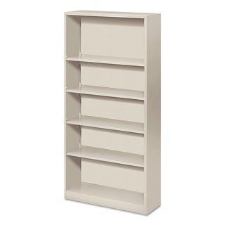 HON Four-Shelf Metal Bookcase (Light Gray)