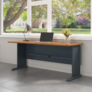 Bush Business Furniture Series A 72W Desk in Natural Cherry and Slate