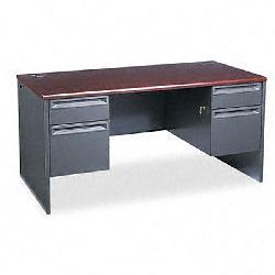 HON 3800 Series Mahogany Double Pedestal Desk
