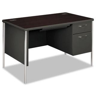 HON Mentor Series Mahogany/ Charcoal Single Pedestal Desk