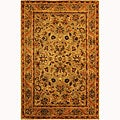 Handmade Antiquities Kasadan Olive Green Wool Rug (4' x 6')