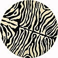 Safavieh Handmade Soho Zebra Print Black/ Ivory N. Z. Wool Rug (6' Round)