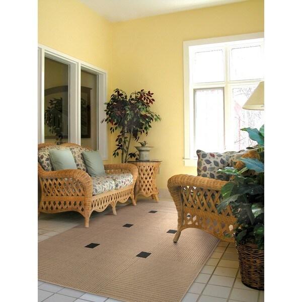 Laguna Indoor/ Outdoor Beige Geometric Rug (3'7 x 5'6)