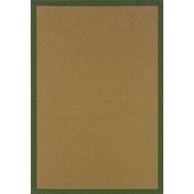 Textured Beige/ Green Indoor/ Outdoor Rug (2'5 x 4'5)