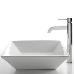 Kraus White Square Ceramic Sink/ Ramus Bathroom Faucet