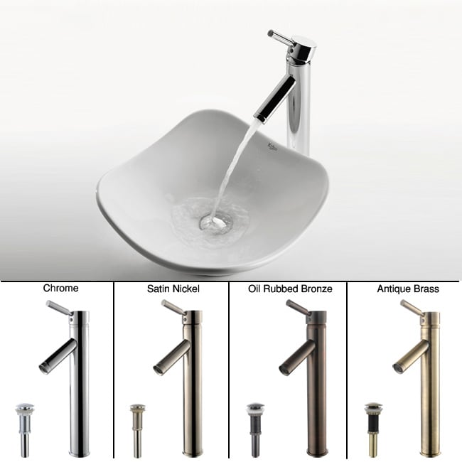 Kraus White Tulip Ceramic Sink and Sheven Faucet