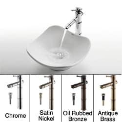 Kraus Tulip Sink and Bamboo-style Bathroom Faucet