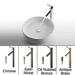 Kraus White Round Ceramic Sink/ Sheven Bathroom Faucet