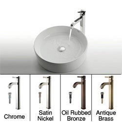 Kraus White Round Ceramic Sink and Ramus Faucet