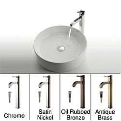 Kraus White Round Ceramic Sink/ Ramus Bathroom Faucet