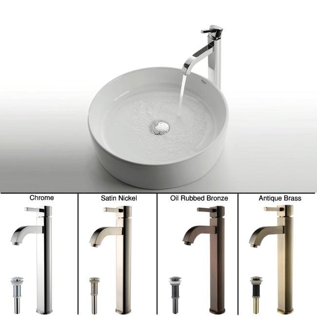Kraus White Round Ceramic Sink and Ramus Faucet