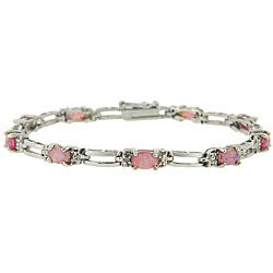 Glitzy Rocks Sterling Silver 2 1/3 carat TGW Lab-created Pink Opal and Diamond Bracelet