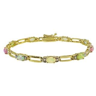 Glitzy Rocks Gold over Silver Lab-created Opal and Diamond Bracelet