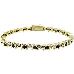 Glitzy Rocks 18k Gold over Sterling Silver Sapphire and Diamond Bracelet