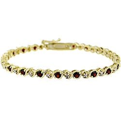 Glitzy Rocks 18k Gold over Sterling Silver Garnet and Diamond Bracelet