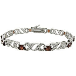Glitzy Rocks Sterling Silver Garnet and Diamond Accent Bracelet