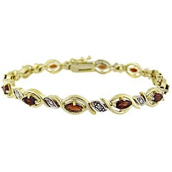 Glitzy Rocks 18k Gold over Silver Garnet and Diamond Accent Bracelet