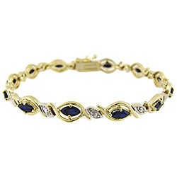 Glitzy Rocks 18k Gold over Silver Sapphire and Diamond Accent Bracelet
