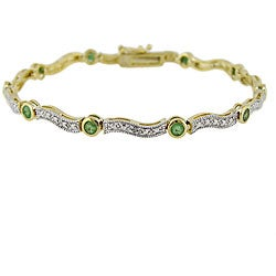 Glitzy Rocks 18k Gold over Silver Emerald and Diamond Accent Wave Bracelet