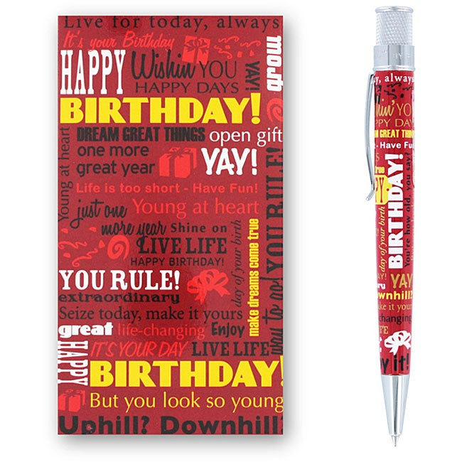 Retro 51 Tornado 'Birthday Greetings' Red Rollerball Pen