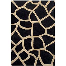 Black Giraffe Print Rug (5' x 8')