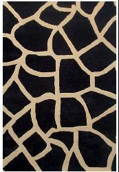 Hand-tufted Giraffe-pattern Black Wool Rug (8' x 10'6)