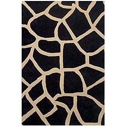 Hand-tufted Giraffe-pattern Black Wool Rug (8' x 10'6)