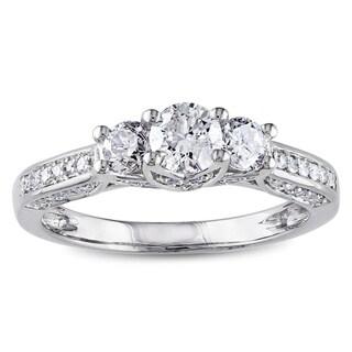 Miadora 14k White Gold 1ct TDW Diamond 3-stone Ring (G-H, I2-I3) with Bonus Earrings