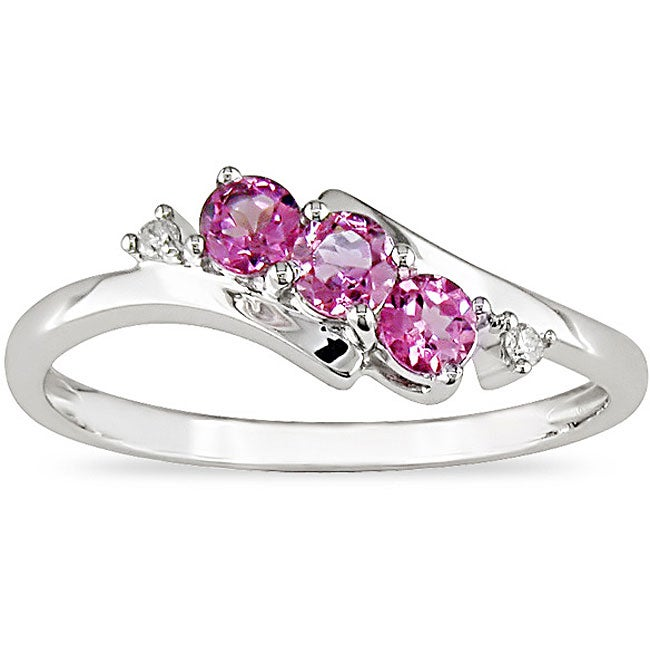 miadora 10k white gold pink topaz and ring