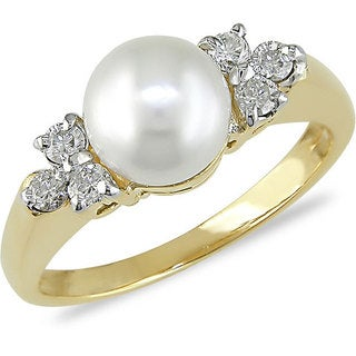 Miadora 14k Gold Cultured Pearl and 1/5ct TDW Diamond Ring (7-7.5 mm)