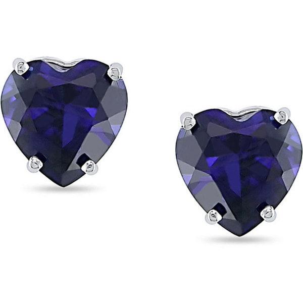Miadora 10k White Gold Created Sapphire Heart Studs