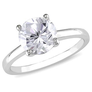 Miadora 10k White Gold White Round-cut Created Sapphire Solitaire Ring