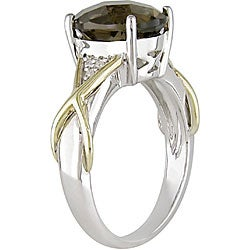 Miadora Silver and 10k Gold Smokey Quartz and Diamond Ring