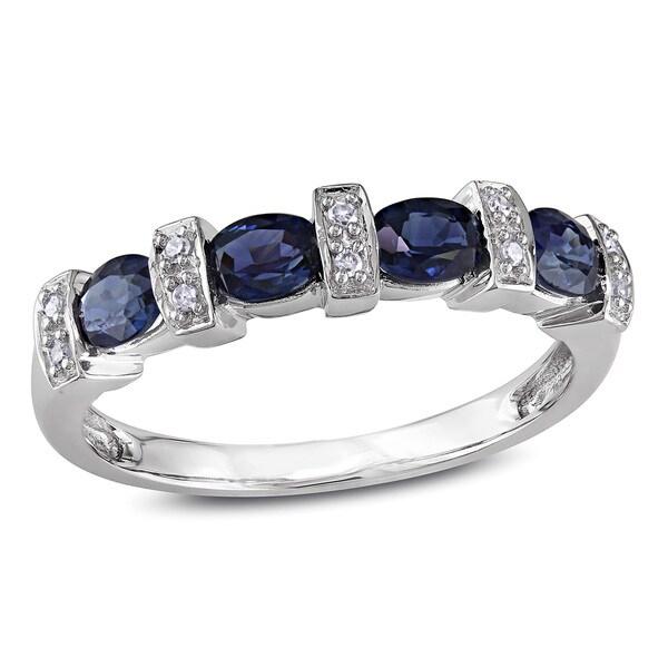 Miadora 10k White Gold Oval Sapphire and Diamond Ring