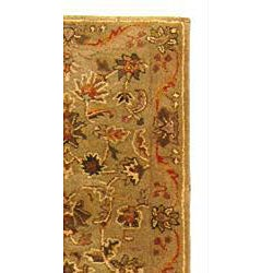 Handmade Antiquities Kasadan Olive Green Wool Runner (2'3 x 12')