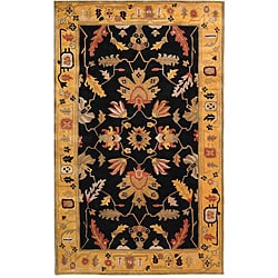 "Handmade Arts & Crafts Black/ Gold N.Z. Wool Rug (7' 6"" x 9' 6"")"