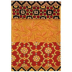 Safavieh Handmade Rodeo Drive Collage Rust/ Gold N.Z. Wool Rug (2' x 3')