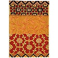Handmade Rodeo Drive Collage Rust/ Gold N.Z. Wool Rug (2' x 3')