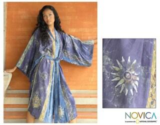 Women's Batik 'Midnight In Blue' Robe (Indonesia)